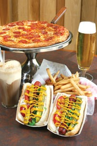 Pizza and hot dogs with all the fixin's take center stage at D's.
