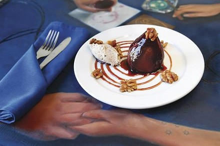 Poached pear with fig-rum mascarpone quenelle and sweetened walnut - HEATHER MULL