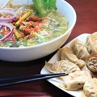 Pork belly ramen soup and handmade beef dumplings