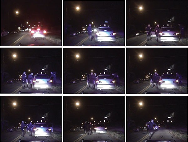 These nine still photos were taken from the police-cruiser dashboard camera the night officers stopped 19-year-old Leon Ford. The routine traffic stop resulted in Ford being shot four times in the chest by city officers.
