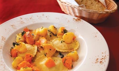 Pumpkin-and-mascarpone ravioli, with winter squash - HEATHER MULL