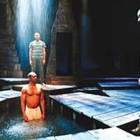 Rain date: (from left) Jaime Lincoln Smith, Larry Powell and Maurice McCrae in City Theatre's <i>Marcus</i>.