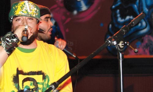 Rhyme family: Hamza Prez (front) and his brother, Sulman, perform as Mujahideen Team.
