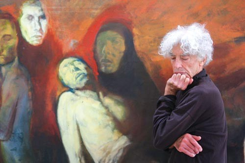"""Richard Rappaport in the International Children's Art Gallery with his """"Burial of Christ."""" Photo courtesy of Rain. - PHOTO COURTESY OF RIVER GIBEAUT"""