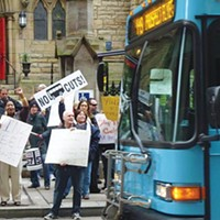 Riders and drivers rally against transit cuts April 27.