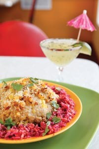 Risotto with cabbage-beet slaw and honey-cucumber margarita with fresh mint - HEATHER MULL