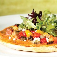 Roasted vegetable and hummus pizza