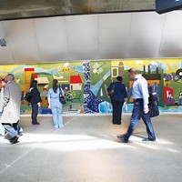 "Romare Bearden's ""Pittsburgh Recollections,"" as relocated to the North Shore Connector T station."