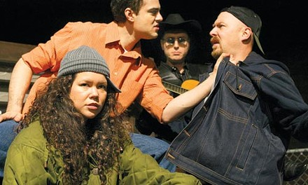 Ruth Gamble (left), Timothy Andres Pabon, John Marcinizyn (rear) and Jeffrey Carpenter often see red in Quantum Theatre's El Paso Blue. Photo by Mary Mervis.
