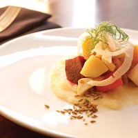 Salad of roasted and puréed root vegetables, with fennel
