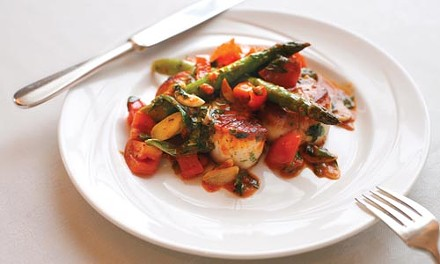 Scallops Provencal with asparagus, plum tomatoes and fresh basil