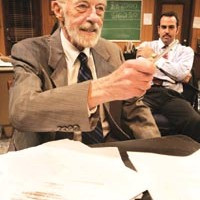 Sell dwellers: Bingo O'Malley (left) and Patrick Jordan in <i>Glengarry Glen Ross</i>, at barebones productions
