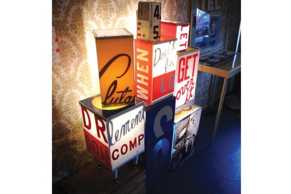 Several works made from salvaged plexiglas signs, by Ron Copeland.