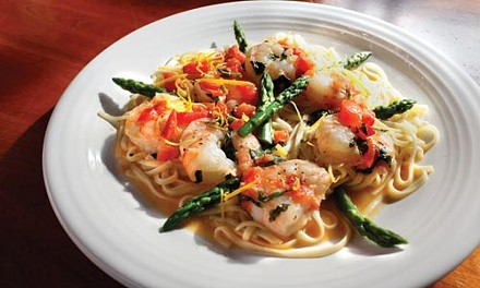 Shrimp linguine with fresh asparagus and lemon zest