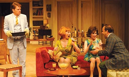 Simon says (from left): John Scherer, Emma Bowers, Meredith Zinner and Andrew Polk in the Pittsburgh Public Theater's The Odd Couple. - PHOTO COURTESY OF RIC EVANS