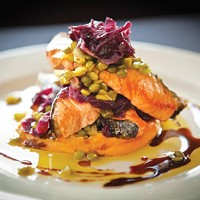 Skuna Bay salmon with braised red cabbage, split peas, bacon and truffled sweet-potato puree.