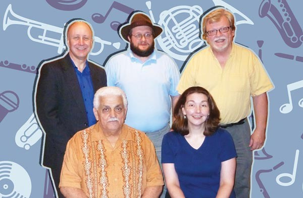 Some former WDUQ staffers — (front) Tony Mowod, Bee Barnett and (back from left) Scott Hanley, John Lasanich and Chuck Leavens — have found early success with their online Pittsburgh Jazz Channel.