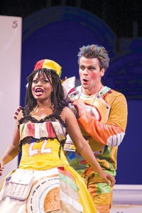 Sonic temple: NaGuanda Nobles (front) and Daniel Teadt in Pittsburgh Opera's The Magic Flute. Photo by David Bachman.