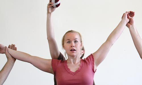 Soprano JoEllen Miller rehearses with dancers from Attack Theatre.