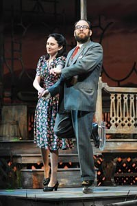 Southern culture on skates: Julie Fitzpatrick and Andrew Polk in Talley's Folly, at Pittsburgh Public Theater. - PHOTO COURTESY OF PITTSBURGH PUBLIC THEATER.