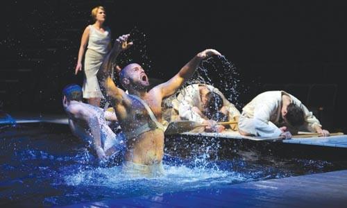 Splash play: Craig Baldwin in the Public's Metamorphoses - PHOTO COURTESY OF RIC EVANS.