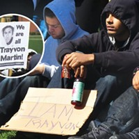 Standing for Trayvon: Crowd of 300 express outrage over Florida teen's death