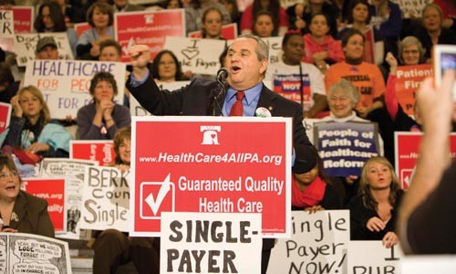 State Sen. Jim Ferlo at a single-payer health-care rally last summer.