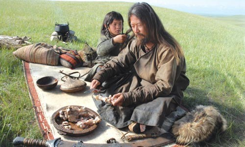 Steppe by steppe: Tadonaba Asano (right) plays Temudgin, the future Genghis Khan, in Mongol.