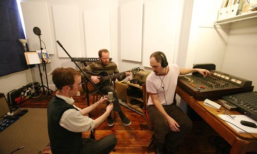 Studio rats (l-r): David Bernabo, Raymond Morin and David Leicht - HEATHER MULL