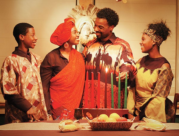 Sundiata Rice, Melessie Clark, LaMar Darnell Fields and Nia Washington in Ubuntu Holiday, at Pittsburgh Playwrights