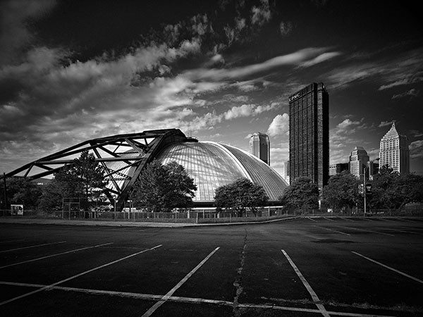 Sunset over a landmark: one of Ed Massery's images of the now-vanished Civic Arena
