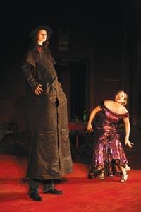 Tall tale: Miki Johnson (left) adds a few feet to play Pat Garrett opposite Kristin Slaysman.