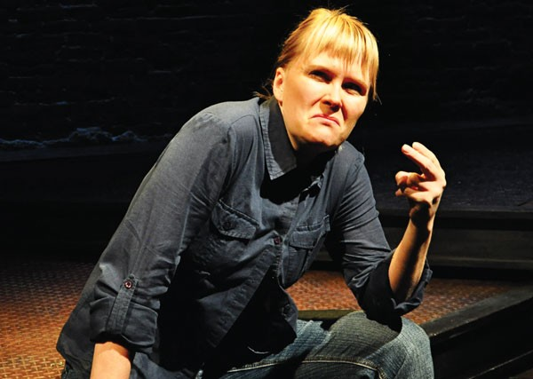 Tami Dixon, in character, in South Side Stories, at City Theatre.
