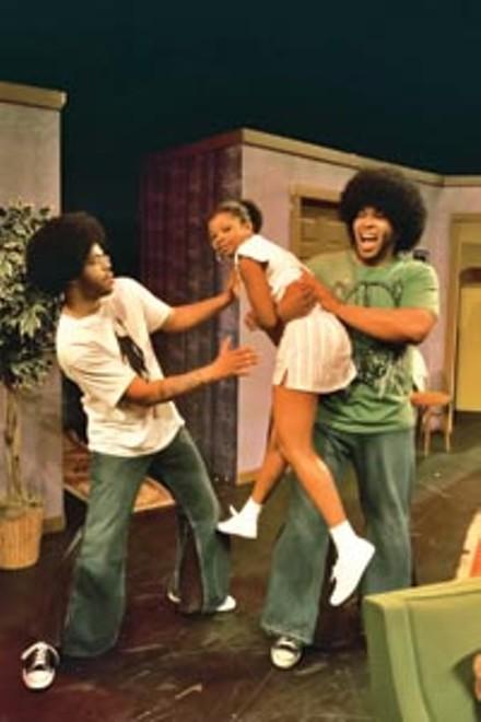 "That '70s show: Leslie ""Ezra"" Smith (left), Ashley Coney (center) and David Conley in New Horizon's Livin' Fat. - PHOTO COURTESY OF RICHENA BROCKINSON."