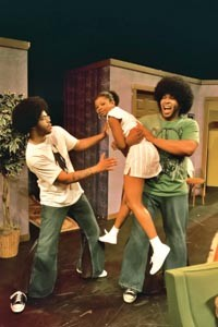 "That '70s show: Leslie ""Ezra"" Smith (left), Ashley Coney (center) and David Conley in New Horizon's Livin' Fat. - PHOTO COURTESY OF RICHENA BROCKINSON."