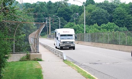 The Center Avenue Bridge in Emsworth, one of 80 bridges owned by the Port Authority, is in need of costly repairs. - CHARLIE DEITCH