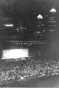 The Civic Light Opera performing -- with the city skyline as a backdrop. - LIBRARY AND ARCHIVES, SEN. JOHN HEINZ HISTORY CENTER