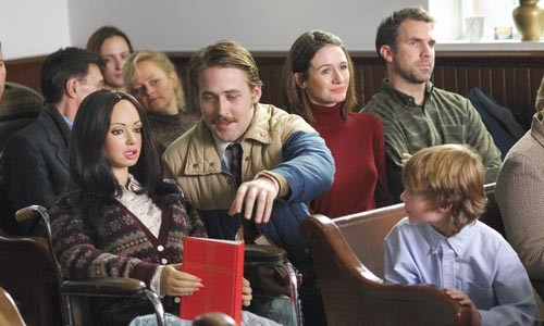 """The family that prays together: from left, """"Bianca,"""" Ryan Gosling, Emily Mortimer and Paul Schneider"""