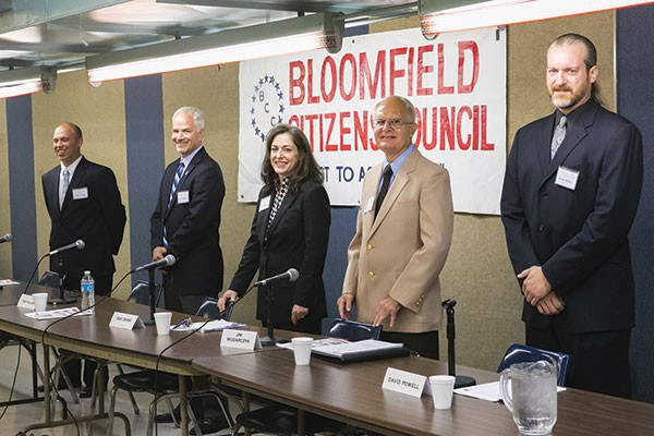 The five hopefuls for the District 7 City Council vacancy gathered at a candidates' forum, sponsored by the Bloomfield Citizens Council, on Oct. 9. From left: Tony Ceoffe, Tom Fallon, Deb Gross, Jim Wudarczyk and David Powell.