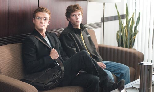 The gods of code: Sean Parker (Justin Timberlake) and Mark Zuckerberg (Jesse Eisenberg)
