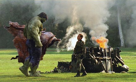 The Hulk shows his metal to Blonsky (Tim Roth).