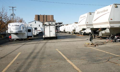 The long haul: Personal space is at a premium on the circus lot. - HEATHER MULL