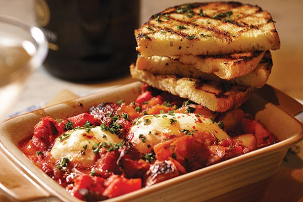 "The ""Mess Beni"": chorizo, roasted pepper, onions, stewed tomatoes and poached eggs - PHOTO BY BRIAN KALDORF"
