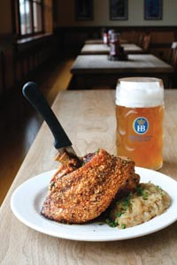 The oktoberfest Schweinshaxe (which our reviewers weren't lucky enough to sample): Slow-roasted pork shank with sauerkraut and bread dumplings.