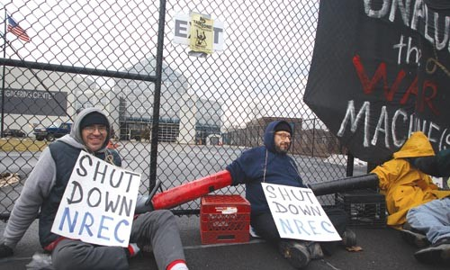 The PVC piping that protesters used to lock themselves together on March 2 outside of Carnegie Mellon's National Robotics Engineering Center could bring them harsher penalties. - PHOTO BY RENEE ROSENSTEEL