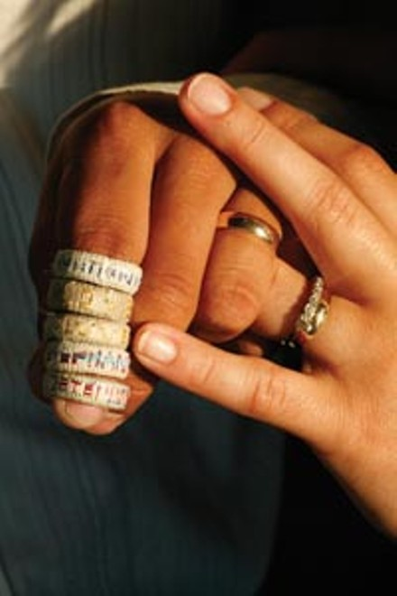 The rings Milton made in detention and the wedding bands that have replaced them - HEATHER MULL
