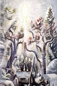 """The shining: Charles Burchfield's """"Late Winter Radiance"""" (1961-62). Image courtesy of the Hoyt Institute of Fine Arts."""