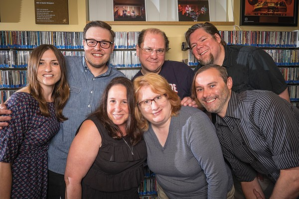 They keep the music playing (clockwise from left): On-air WYEP personalities Cindy Howes, Joey Spehar, Kyle Smith, Mike Sauter, Brian Siewiorek, Rosemary Welsch and general manager Abby Goldstein - PHOTO BY TERRY CLARK