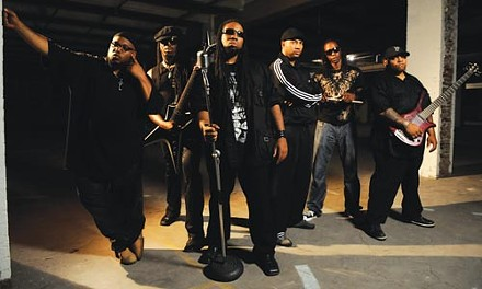 """They want to take you """"Higher"""": Formula412's Akil Esoon, Byron Nash, Masai Turner, Supa C, Young D and Bigg Cliff, from left. - PHOTO: JEFF SWENSEN"""