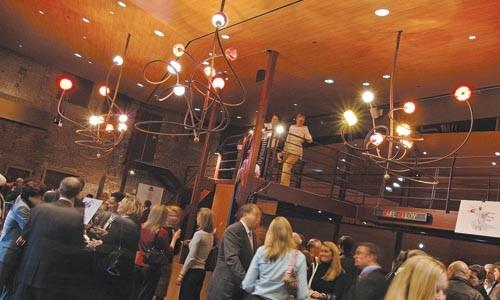 Think of the overhead: the New Hazlett Theater's redesigned lobby. Photo courtesy of EDGE Studios.